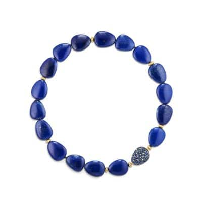 Delta Bead Necklace with Lapis Lazuli, Blue and Gray Sapphire and 18K Gold thumbnail