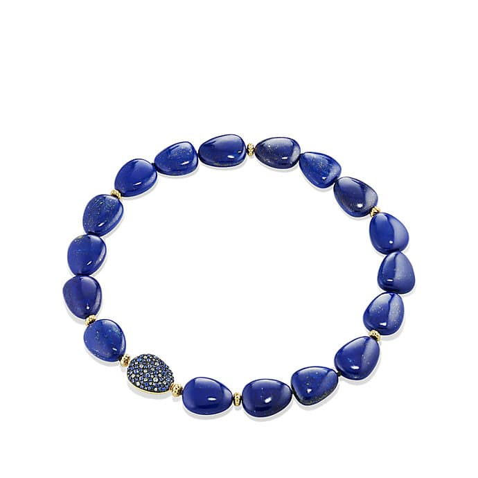 Delta Bead Necklace with Lapis Lazuli, Blue and Gray Sapphire and 18K Gold