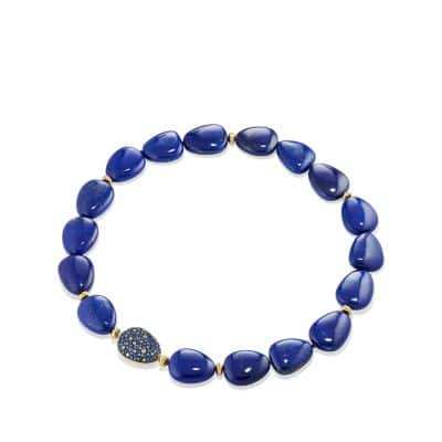 Delta Bead Necklace with Lapis Lazuli, Blue and Grey Sapphire and 18K Gold