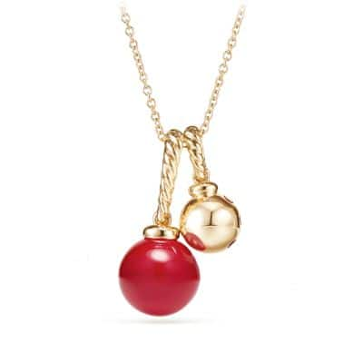 Solari Pendant Necklace in 18K Gold with Cherry Amber