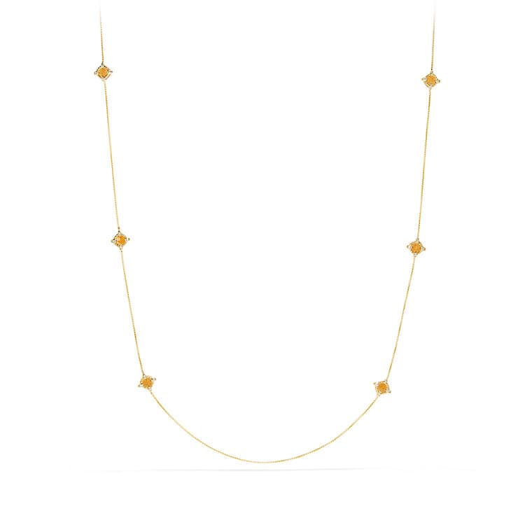 Châtelaine Long Station Necklace with Citrine and Diamonds in 18K Gold