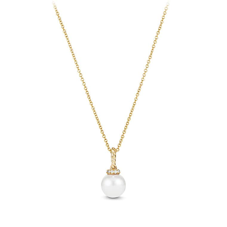 Solari Pendant Necklace with Pearls and Diamonds in 18K Gold