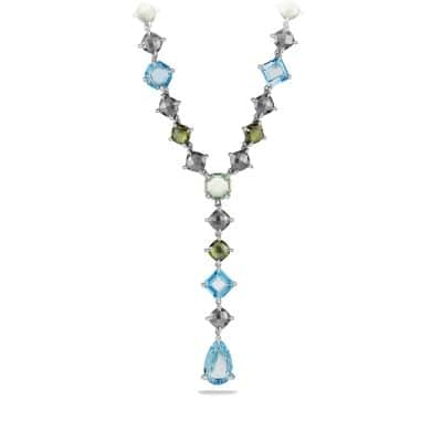 Chatelaine Necklace with Hematine, Blue Topaz, Prasiolite and Diamonds