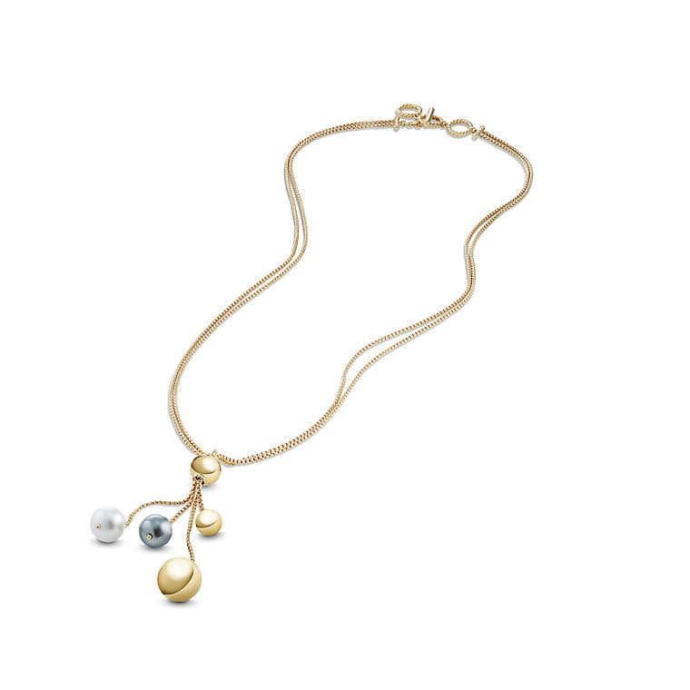 Solari Fringe Necklace with Pearls in 18K Gold