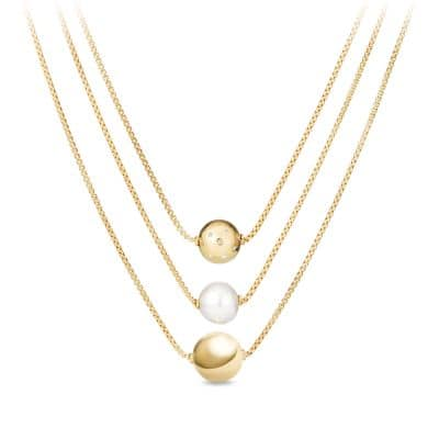 Solari Triple Drop Necklace with Diamonds and Pearls in 18K Gold