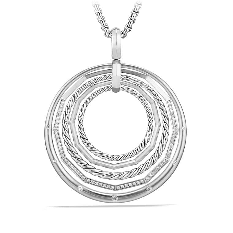 Stax Large Pendant Necklace with Diamonds, 50mm