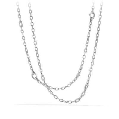 Stax Convertible Chain Necklace with Diamonds in 18K White Gold