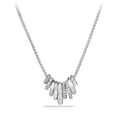 Stax Rondelle Pendant Necklace with Diamonds