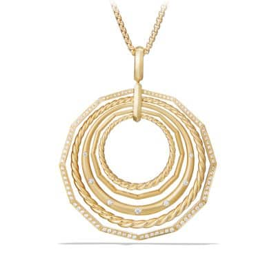 Stax Long Pendant Necklace with Diamonds in 18K Gold, 41mm thumbnail