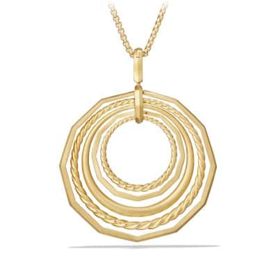 Stax Long Pendant Necklace with Diamonds in 18K Gold, 41mm
