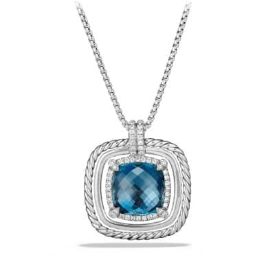 Chatelaine Pave Bezel Necklace with Hampton Blue Topaz and Diamonds, 24mm
