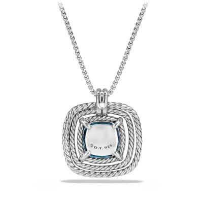 Châtelaine Pave Bezel Necklace with Hampton Blue Topaz and Diamonds, 24mm