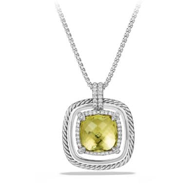 Châtelaine Pave Bezel Necklace with Lemon Citrine and Diamonds, 24mm thumbnail