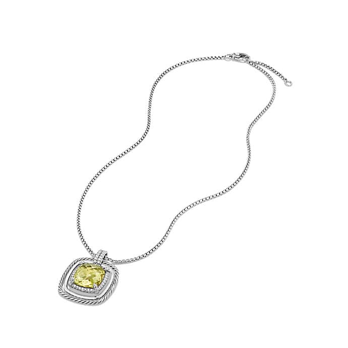 Châtelaine Pave Bezel Necklace with Lemon Citrine and Diamonds, 24mm