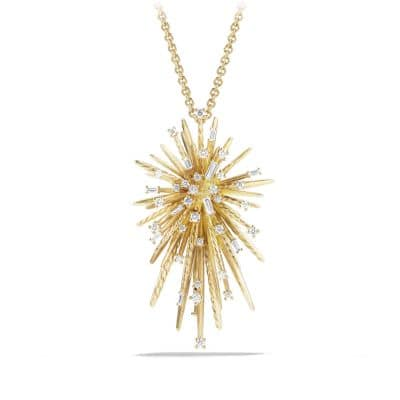 Supernova Pendant Necklace with Diamonds in 18K Gold