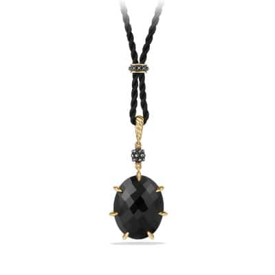 Osetra Long Station Pendant Necklace with Black Onyx, Hematine and 18K Gold