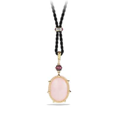 Osetra Long Station Pendant Necklace with Pink Opal, Rhodalite Garnet and 18K Gold