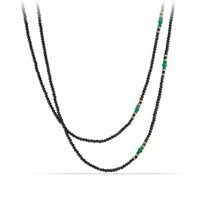 Osetra Tweejoux Necklace with Black Spinel, Green Onyx and 18K Gold