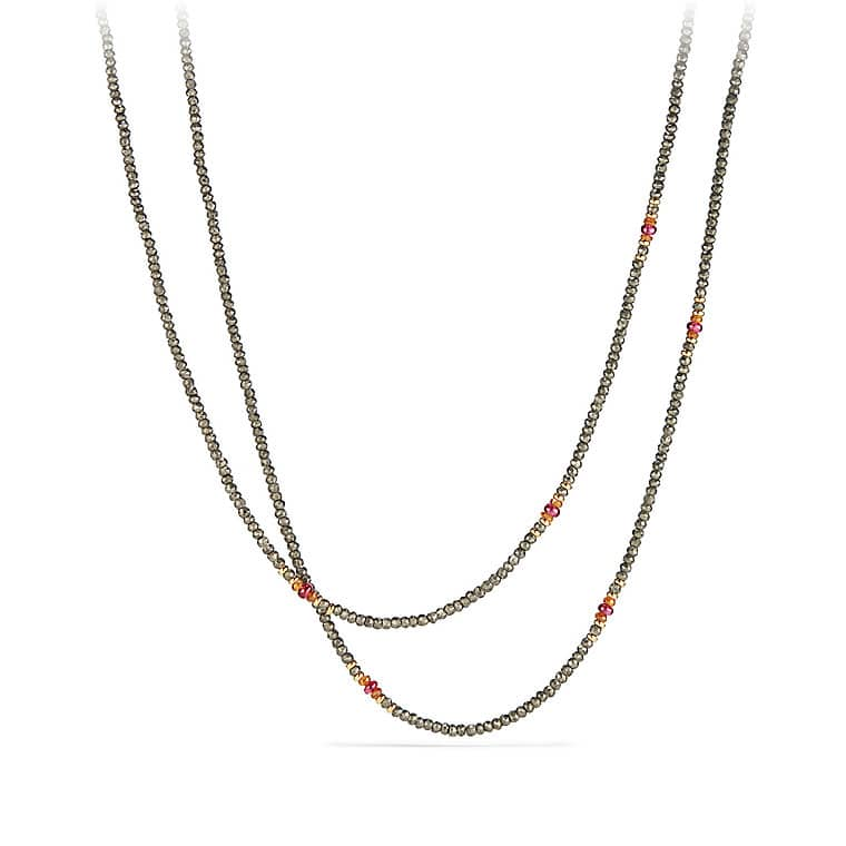 Osetra Tweejoux Necklace with Pyrite, Spessartite, Rhodalite Garnet and 18K Gold