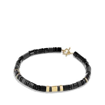Nevelson Bead Necklace with Black Onyx in 18K Gold