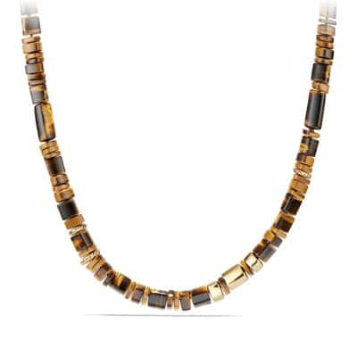 Nevelson Bead Necklace with Tigers Eye in 18K Gold
