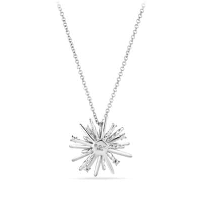 Supernova Small Pendant Necklace with Diamonds in 18K White Gold