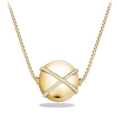 Solari Pendant Necklace with Diamonds in 18K Gold, 23mm