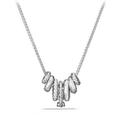 Stax Rondelle Pendant Necklace with Diamonds in 18K White Gold