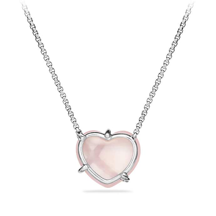 Le Petit Coeur Sculpted Heart Chain Necklace with Milky Rose Quartz and Diamonds