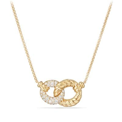 Belmont® Extra-Small Double Curb Link Necklace with Diamonds in 18K Gold