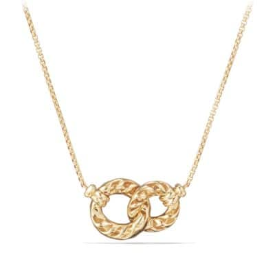 Belmont Extra-Small Double Curb Link Necklace with Diamonds in 18K Gold