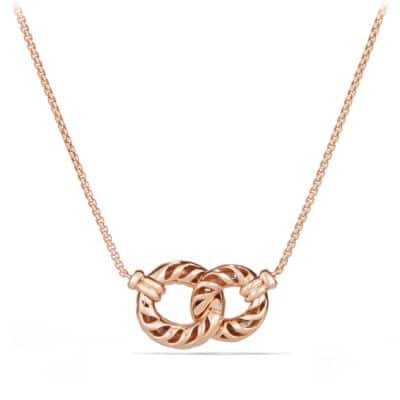 Belmont Extra-Small Double Curb Link Necklace with Diamonds in 18K Rose Gold