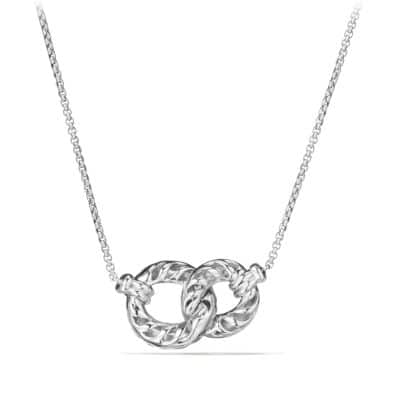 Belmont Extra-Small Double Curb Link Necklace with Diamonds in 18K White Gold