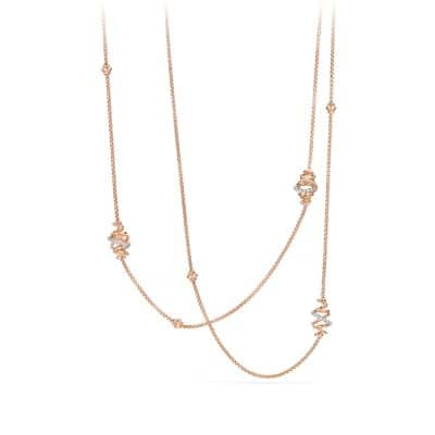 Crossover Station Necklace with Diamonds in 18K Rose Gold