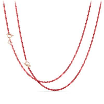 DY Bel Aire Chain Necklace in Coral Color with 14K Rose Gold Accents