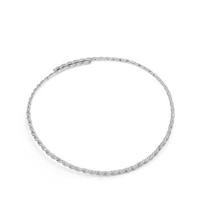 Pavéflex Single Row Necklace with Diamonds in 18K White Gold