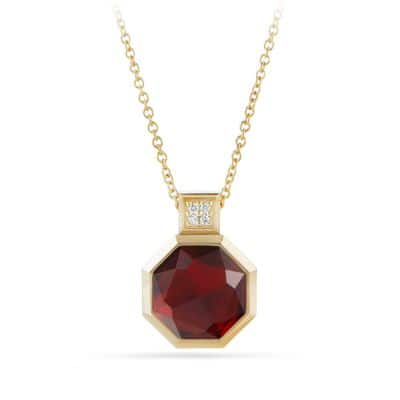 Guilin Octagon Pendant Necklace with Garnet and Diamonds in 18K Gold