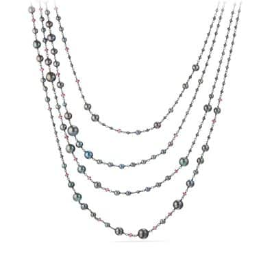 Oceanica Pearl and Bead Link Necklace with Grey Pearls and Hematine