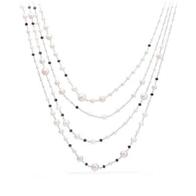 Oceanica Pearl and Bead Link Necklace with Pearls and Black Spinel