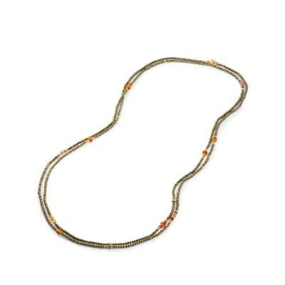 Mustique Beaded Necklace with Pyrite, Citrine and Pink Tourmaline in 18K Gold