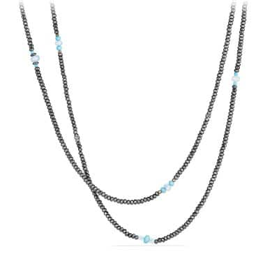 Mustique Beaded Necklace with Hematine, Turquoise and Blue Topaz