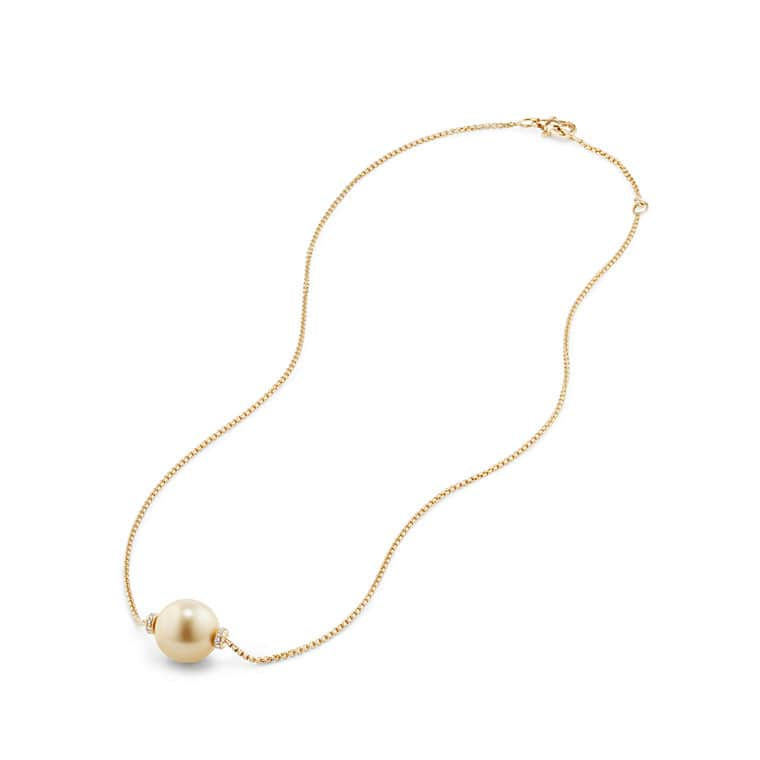 Solari Single Station Necklace in 18k Gold with Diamonds and South Sea Yellow Pearl