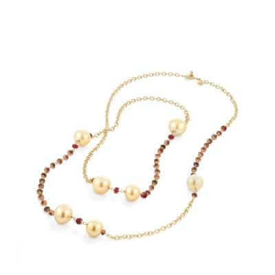 Oceanica Link Necklace with South Sea Yellow Pearls and Adalusite in 18k Gold