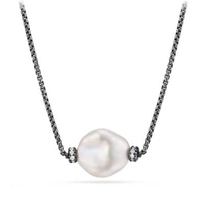 Solari Station Necklace with Diamonds and Pearls