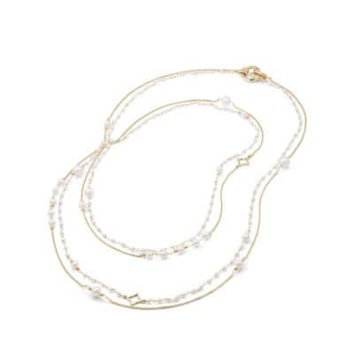 Oceanica Two-Row Chain Necklace with Pearls in 18k Gold