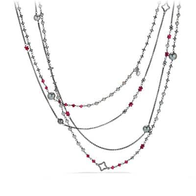 Oceanica Two-Row Chain Necklace with Grey Pearls and Hematine