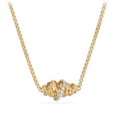 Crossover Single Station Necklace  with Diamonds  in 18K Gold