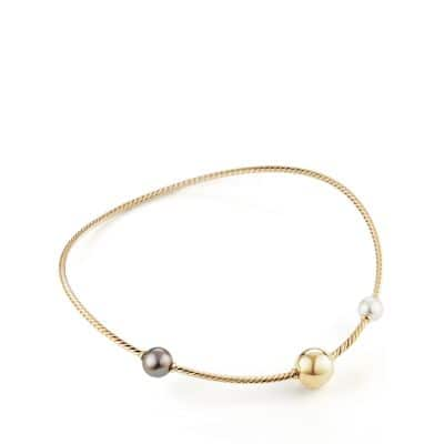 Solari Single Row Cable Necklace with Tahitian Grey Pearls and South Sea White Pearls in 18K Gold