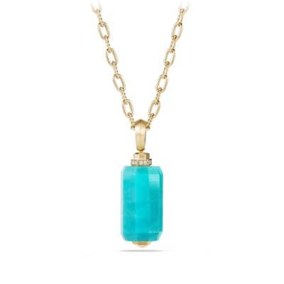 Barrels Pendant Necklace with Diamonds and Amazonite in 18K Gold