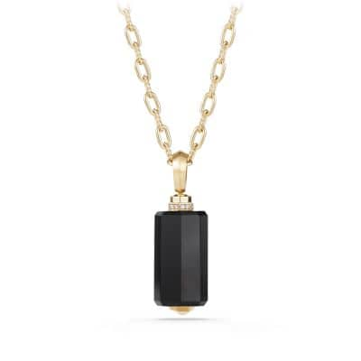 Barrels Pendant Necklace with Diamonds and Black Onyx in 18K Gold